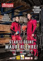 Die engagierten Lehrlinge der Baufirma Lechner Dominik Klampfer und Nico Hinterleitner bei der Vorstellung der Maurerlehre